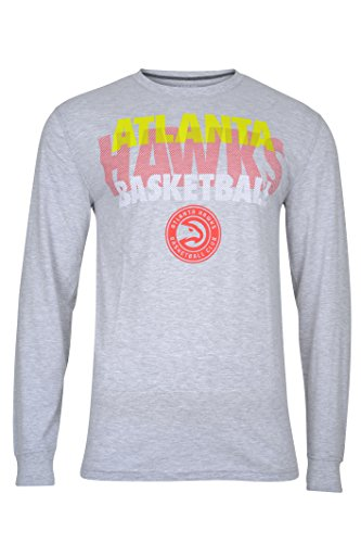 fan products of NBA Men's Atlanta Hawks T-Shirt Supreme Long Sleeve Pullover Tee Shirt, Large, Gray