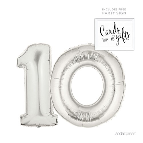 Andaz Press Giant Silver Helium Foil Balloon Party Kit with Sign, Jumbo 40-inch, Number 10, Metallic Silver Shiny Mylar, 1-Pack, Includes Free Party Sign!, 10th Birthday Anniversary Party (Custom Printed Foil Balloons)