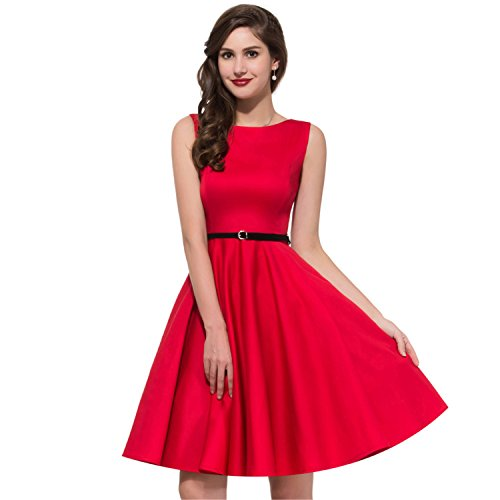 [Sparhod New Women Summer Dress Audrey hepburn Retro Swing 50s Vintage Dresses Vestidos runway dress] (60s Dress Up Ideas)