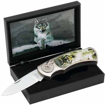 Maxam Lockback Knife with Decorative Wolf Inlay in Display Box
