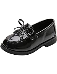 Girls Patent Leather Slip-On Penny Loafers Flats Bow Tassel Oxfords Moccasins Dress Shoes