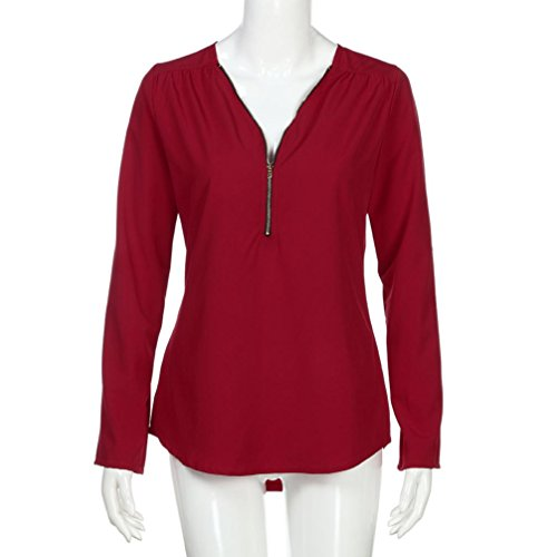 Manches Lache Tops Blouse Bringbring Rouge Shirt Femmes Dcontracts Longues T nwanqf76v