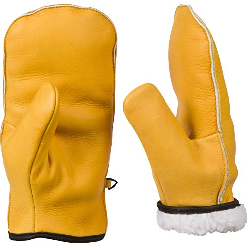 Top-Grain Cowhide Leather Chopper Mitts, Sherpa Lined Mitten Glove (Xl Womens/Med to Large Mens)