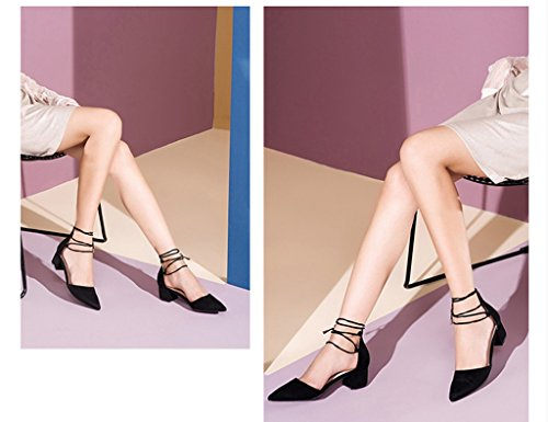 Mid Heels Sommer ZCJB Frau Schwarz Damenschuhe Schuhe Heel Farbe Schuhe Mit Dick Sandalen Strap High 37 Weinrot Größe 8IvSvqw