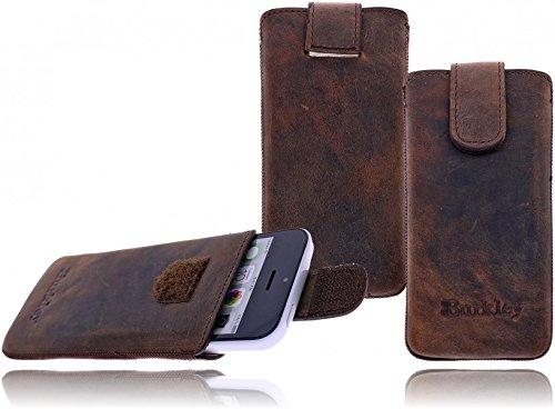 Burkley Premium Wetcase Leder Handy-Tasche für Apple iPhone SE / 5 / 5S / 5C Sleeve Etui Schutz-Hülle mit Easy-Out System und Klettverschluss in dunkel braun / dark brown