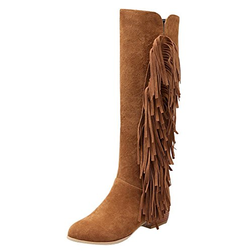 Mee Shoes Damen Blockabsatz Quasten langschaft Stiefeletten Gelbbraun