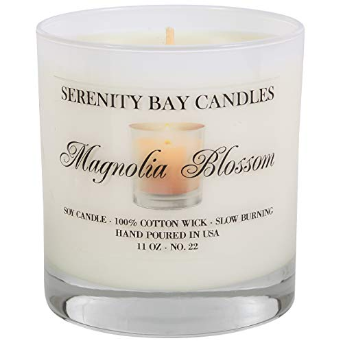 Serenity Bay Soy Candle in Glass Tumbler | Highly Scented | Long Burning | Infused with Fragrance & Essential Oils for Relaxation & Aromatherapy | Cotton Wick (11 oz, Magnolia Blossom)
