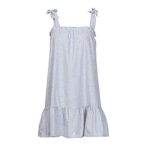 StJoyce dresses Women's Dress Summer Sexy Tank Party Dress Striped Print Beach Clothing Linen Sling Sleeveless Mini Slash Neck Sundress White S