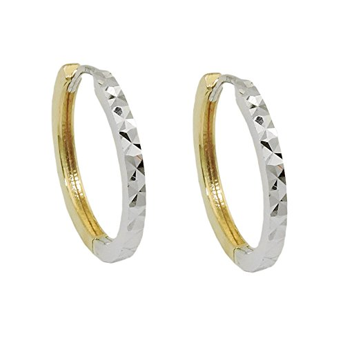 Creole, bicolor diamantiert, 9Kt GOLD