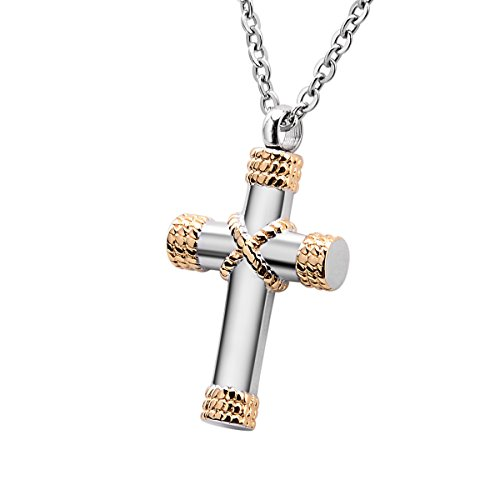 Cross Cremation Ashes Urn Necklace Memorial Pendant Stainless Steel Waterproof Jewelry (Gold) by B&Y