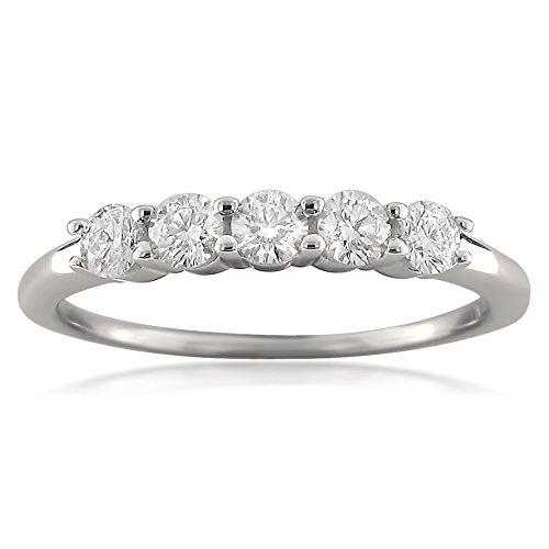 18k White Gold 5 Stone Round Diamond Bridal Wedding Band Ring (1/2 cttw, H I, VS2 SI1)