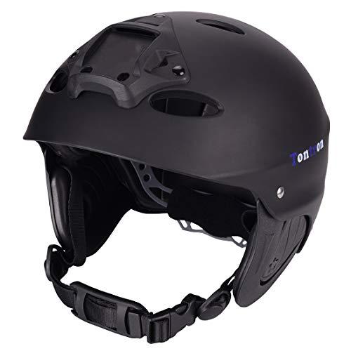 Tontron Pratical Water Sports Helmet with Go Pro Mount Plate (Matte Black Diamond, Medium)