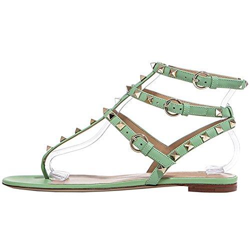 EKS Damen Flat Gladiator Thin Straps mit Nieten Flache Schuhe Green