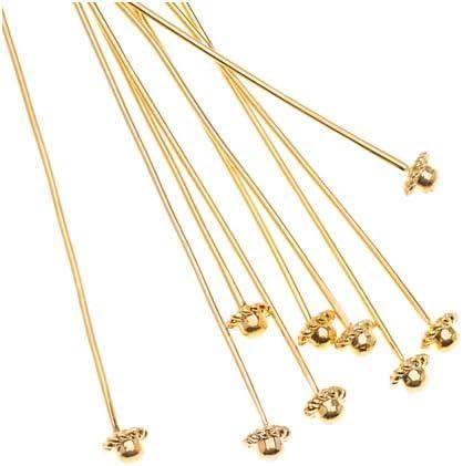 2 Inches 24 Gauge 10 Beadalon Silver Plated Star Ball Head Pins