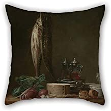 Oil Painting Jean-Sim??on Chardin (French - Still Life With Fish, Vegetables, Goug??res, Pots, And Cruets On A Table Pillow Cases 16 X 16 Inches / 40 By 40 Cm For Wife Divan Kids Girls Christmas O