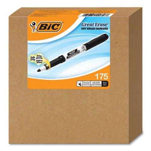 BIC Erase Grip Fine Point Dry Erase Marker, Black, 175 Markers (BIMCGDE175BK)