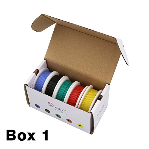 Striveday™ 30 AWG Flexible Silicone Wire Electric wire 30 gauge Coper Hook Up Wire 300V Cables electronic stranded wire cable electrics DIY BOX-1 by striveday (Image #2)