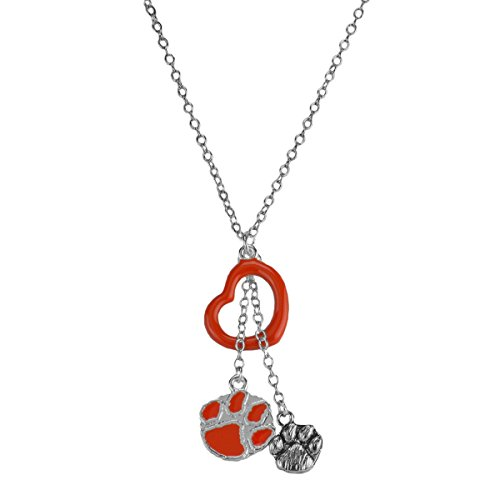 Pendant Heart Tigers Paw Clemson (Rosemarie Collections Women's Clemson University National Championship Paw Print Heart Necklace)