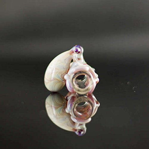 Octopus Dread Bead in Clear & Double Amber Purple, #609 (Handmade Dread Beads)