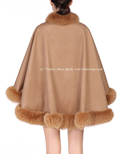 Cashmere Shawl with Fox Fur Trim (camel)