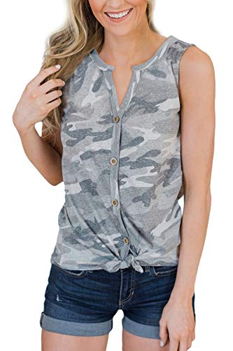 Intimate Boutique Women's Sleeveless Summer Blouse Cotton Tie Front V-Neck Basic Lightweight Casual Tank Top Camo M