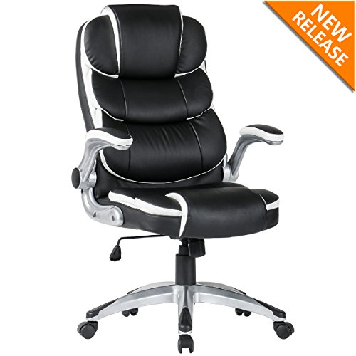 - YAMASORO High-back Executive Office Chair Leather, Adjustable Ergonomic Swivel Computer Desk Chair with Flip-up Armrest,Back Support for Working, Studying Big and Tall