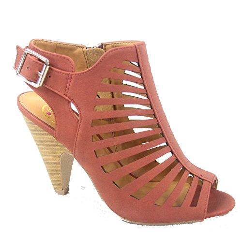 Soda Shaky-s Women's Sexy Strappy Peep Toe Slingback Buckle Chunky Heel Sandal (10 B(M) US, (Buckle Slingback Sandal)