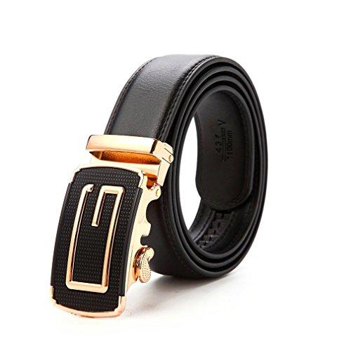 Shenglin Luxury Men Belt G Design Genuine Leather Automatic Buckle Belts 35mm Wide - Yellow Gold Belt Buckle