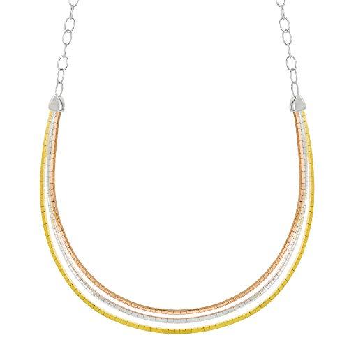 (Ellen Tracy Sterling Silver Graduated Frontal Greek Key Tri color Necklace)