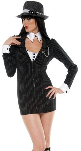 Mobster Women Costume (Forplay Women's Mobster Mama Adult Sized Costumes, Black, Medium/Large)