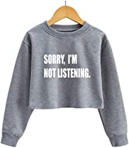 G-Amber Girls Long Sleeve Sweatshirts Kids Crop Print Funny Letters Fashion Pullover Tops Grey Sorry I'm N