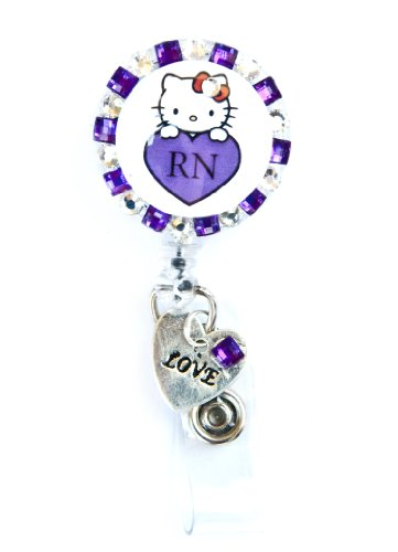 SIZZLE CITY New Custom Made Bling Rhinestone Hello Kitty ID Badge Pull Reel Retractable ID Badge Holders (Purple Hello Kitty RN with Love Charm)