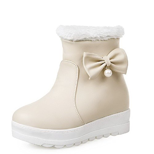 AgooLar Women's Pull-On Low Heels Pu Solid Mid Top Boots with Jewels Beige