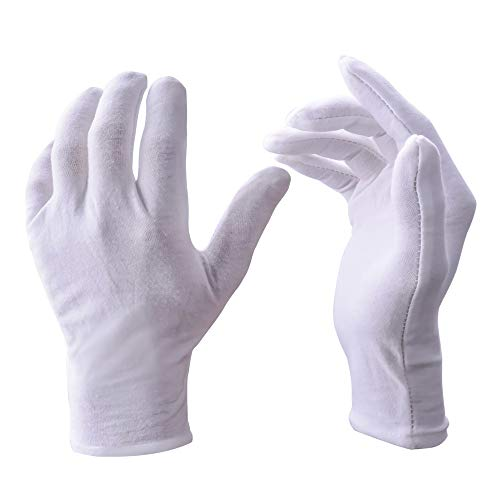 White Gloves, Zealor 12 Pairs Soft Cotton Gloves, Coin Jewelry Silver Inspection Gloves, Stretchable Lining Glove, Medium -