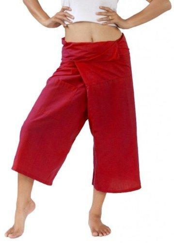 Dark Orange Thai Fisherman Pants 3/4 length yoga massage Dark Orange.