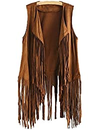 729788ea5f3 Inverlee Women Autumn Winter Faux Suede Ethnic Sleeveless Tassels Fringed  Vest Cardigan · Inverlee Coat