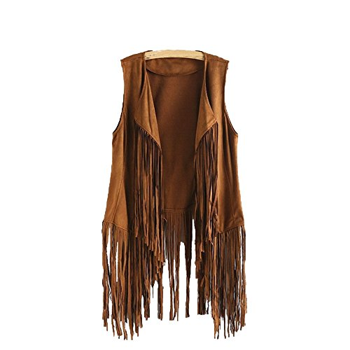 Hunzed Women【Suede Tassel Vest】Women Fringe Faux Suede Hippie Costume Open-Front Sleeveless Cardigan (Medium, Khaki)]()