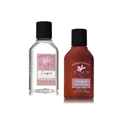 Bath and Body Works Aromatherapy Comfort Vanilla & Patchouli Travel Size Set. Body Lotion & Shower Gel. 2 Oz (Wash Size Body Vanilla Travel)