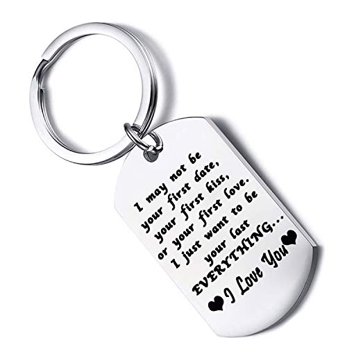 FUSTYLE I May Not Be Your First Date Keychain Couples Gift Boyfriend Husband Dog Tag Key Chain (Dog Tag Silver) ()