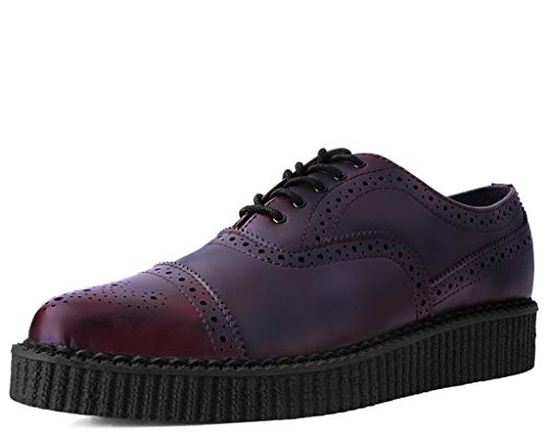 T.U.K. Shoes A9629 Unisex-Adult Creepers, Burgundy Rub Off Wingtip Pointed Creeper - US: Men 12 / Women 14 / Red/Synthetic