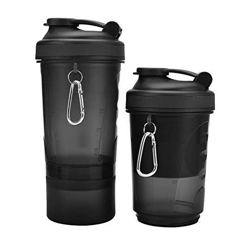 Happy love Three-Layer Shake Cup Protein Powder Sports Cup Black Plastic Cup 500ml