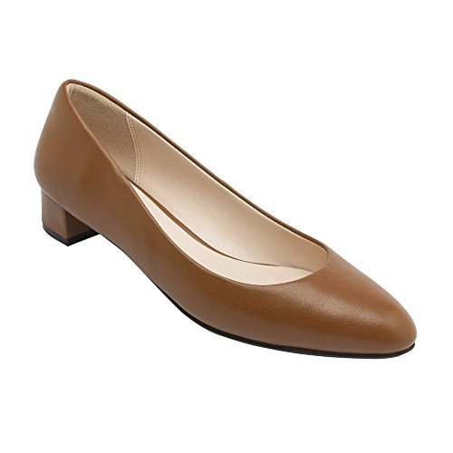 PIC/PAY Fiona - Women's Low Heel Leather Pumps - Classic Almond Toe Slip-On Flat Shoes Camel Leather 8.5M