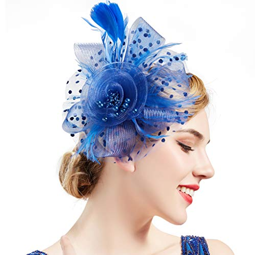 Veils And Headpieces - BABEYOND Women's Fascinators Hat Mesh Feather Fascinator Flower Hair Clip Veil Derby Hat Bridal 1920s Headpiece for Cocktail Tea Party (Blue)