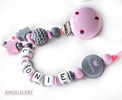 Cadena para chupete con nombres - Niña de regalo para bebé ...