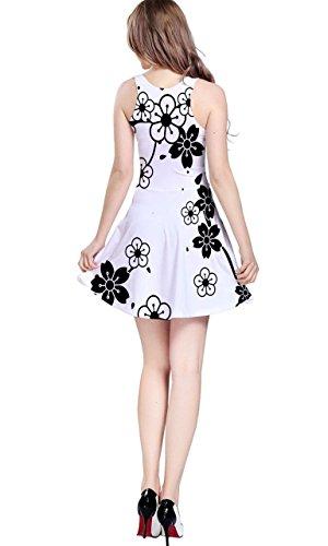 Cowcow–vestido skater sin mangas, con olas de estilo japonés Blanco Y Negro