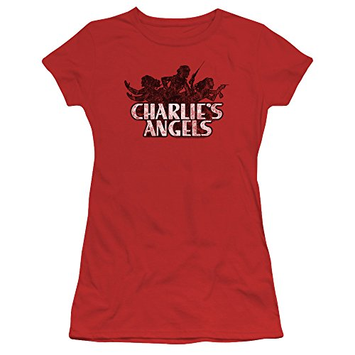 (Charlies Angels Charlies Angels Vintage Logo Women's Sheer Fitted T Shirt)