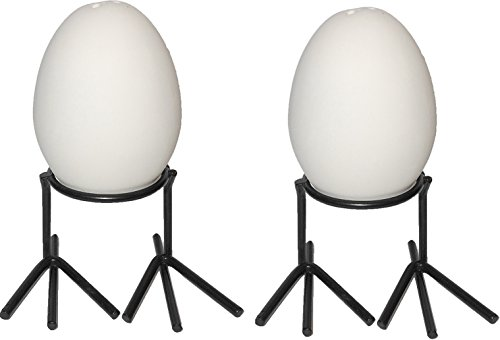 Little Egg Salt & Pepper Shakers and Metal Chicken Feet - Set of 2 - Paint Your Own Ceramic ()