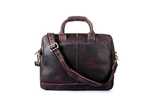 de la de y usable Vintage dark maletín computadora Cuero de Bolso Durable BAO Hombres Mensajero Brown los Bolsa Trabajo Compras Viaje de brown Bolso H5wIUxECnq