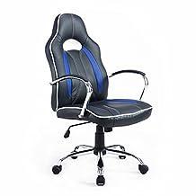 HomCom 921-017BU High Back Executive Racing Office Chair Faux Leather Swivel Computer Desk Seat (Black/Blue)