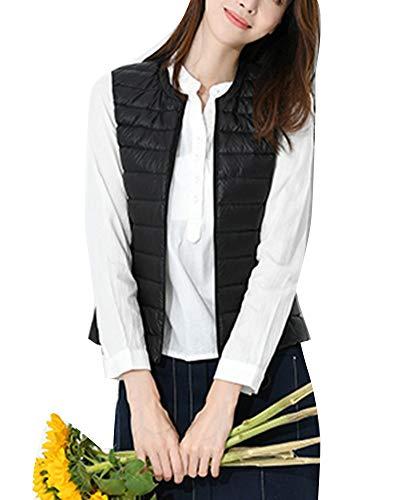 Ultra Noir Rembourré Veste Manteau Sans Blouson Légère Manche Femme Gilet Hiver dWxvnCd